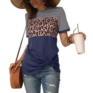 Blue T-shirt with leopard print and stripes